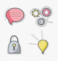 flat line chat bubble gear padlock and bulb icon vector image
