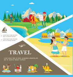 flat summer travel colorful template vector image