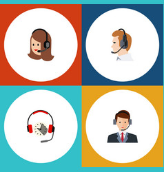 flat telemarketing set of service headphone vector image
