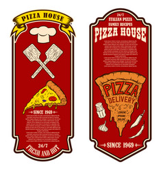 flyer pizzeria design elements for logo label vector image