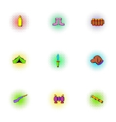 Forest icons set pop-art style vector image