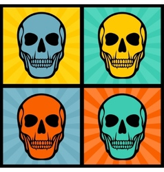 Four with skulls on pop art background vector image