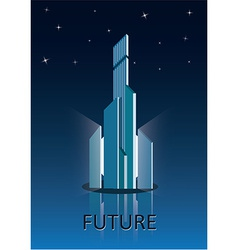 Future city poster vector