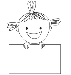 Girl and rectangle vector