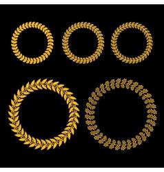 Gold Laurel Wreath Set on Black Background vector image vector image