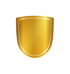 gold shield shape icon 3d golden emblem sign vector image