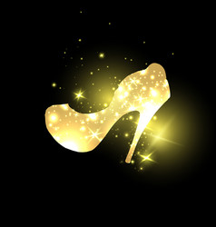 Golden shining woman shoes with high heels vector