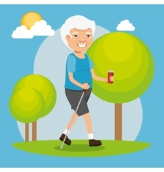 grandfather with sport clothing vector image