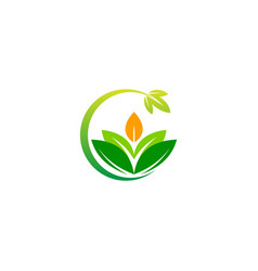 green leaf organic ecology nature logo vector image