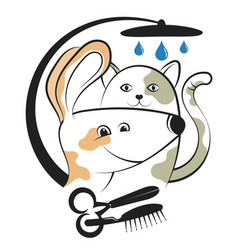Haircut and washing animals vector