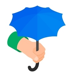Hand holding umbrella icon isometric 3d style vector image