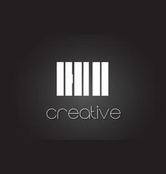 Hi h i letter logo design with white and black vector