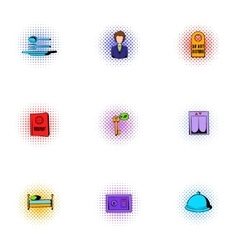Hotel accommodation icons set pop-art style vector
