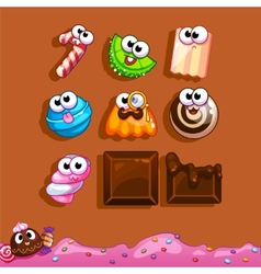 Icons candy for the game interface vector image