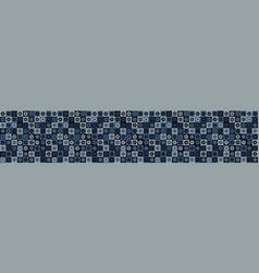 Indigo blue heart mosaic border seamless vector