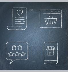 Internet commerce icon set on chalk board vector