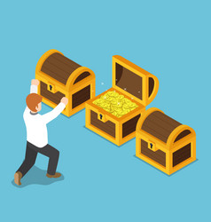 isometric happy businessman with opened treasure vector image