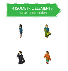 isometric people set of plumber lady policewoman vector image