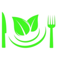 Knife fork and leaf on plate vector