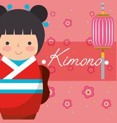 Kokeshi japanese national doll in a red kimono vector