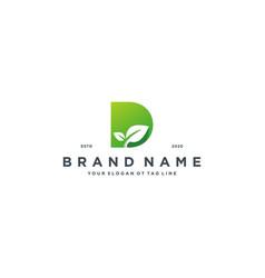 Leaf letter d logo design vector
