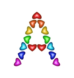 Letter A made of multicolored hearts vector image