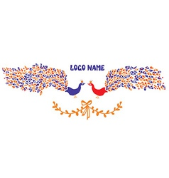 Logo or identity element with peacock pair vector image