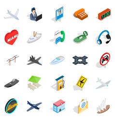 luxury transport icons set isometric style vector image