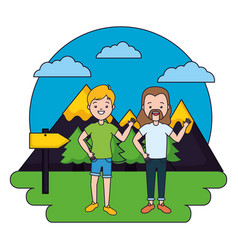 Man and woman camping forest mountains vector