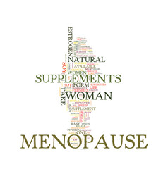 menopause supplements text background word cloud vector image