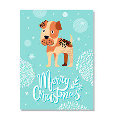 Merry christmas postcard with boxer puppy and vector