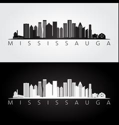 mississauga skyline and landmarks silhouette vector image
