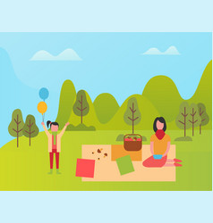 mom and daughter in park family weekend vector image