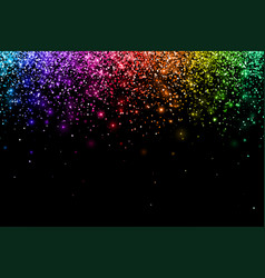 Multicolor falling particles on black background vector