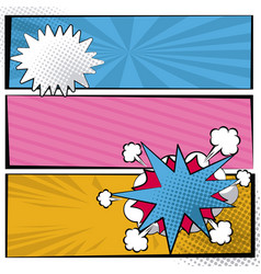 multicolored square banner in pop art style vector image