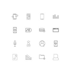 music linear thin icons set outlined simple icons vector image