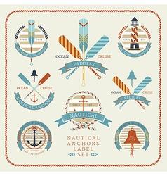 Nautical anchors label set 02 vector image