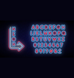 neon glowing alphabet bright typeface vector image