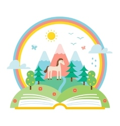 Open Book and Nature Landscape vector image vector image
