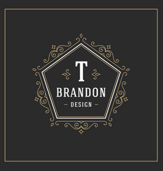 Ornament logo design template flourishes vector