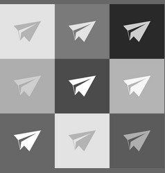 Paper airplane sign grayscale version of vector