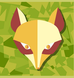 paper foxes green poster vector image