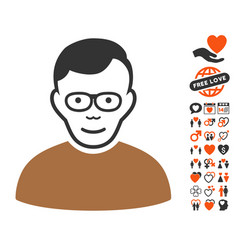 Pensioner icon with love bonus vector