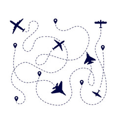 Plane paths aircraft way dotted path or road vector