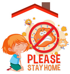 please stay home banner with children vector image