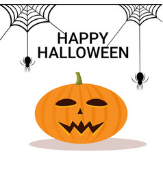 pumpkin spider web happy halloween holiday vector image