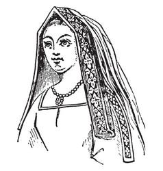 Queen henry vii is a angular head-dress vector