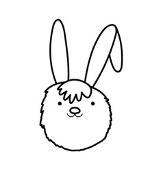 rabbit head adorable toy icon thick line vector image