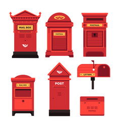 Red mail box set public and private address vector