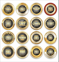 sale retro vintage golden badges and labels 04 vector image